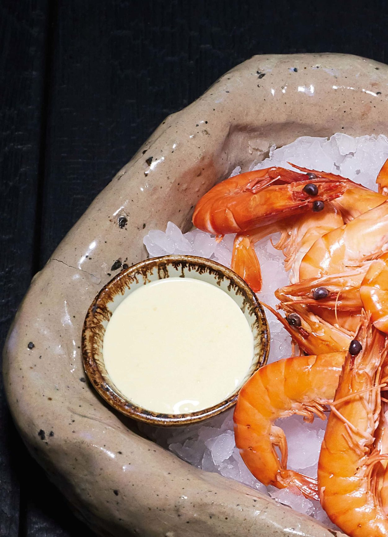 Mayonnaise und Shrimps