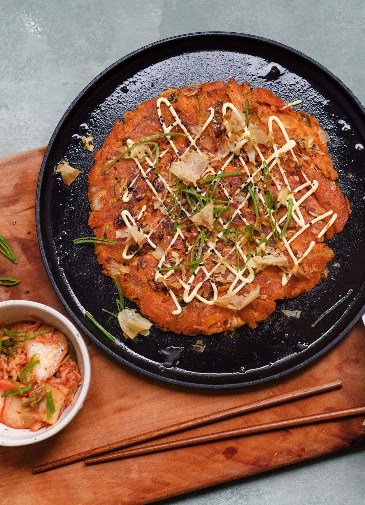 Kimchi Pancake mit Bonitoflocken