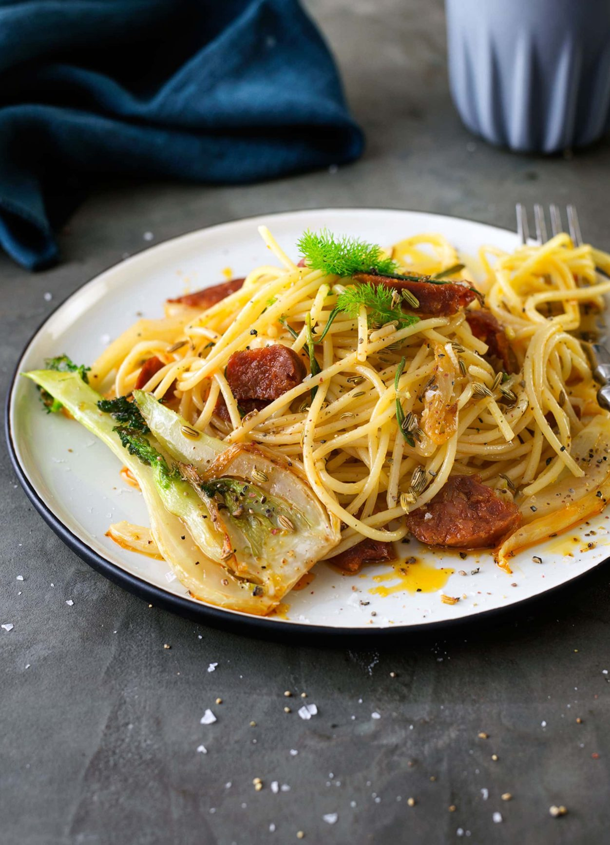 Spaghetti mit Chorizo, Fenchel und Orange
