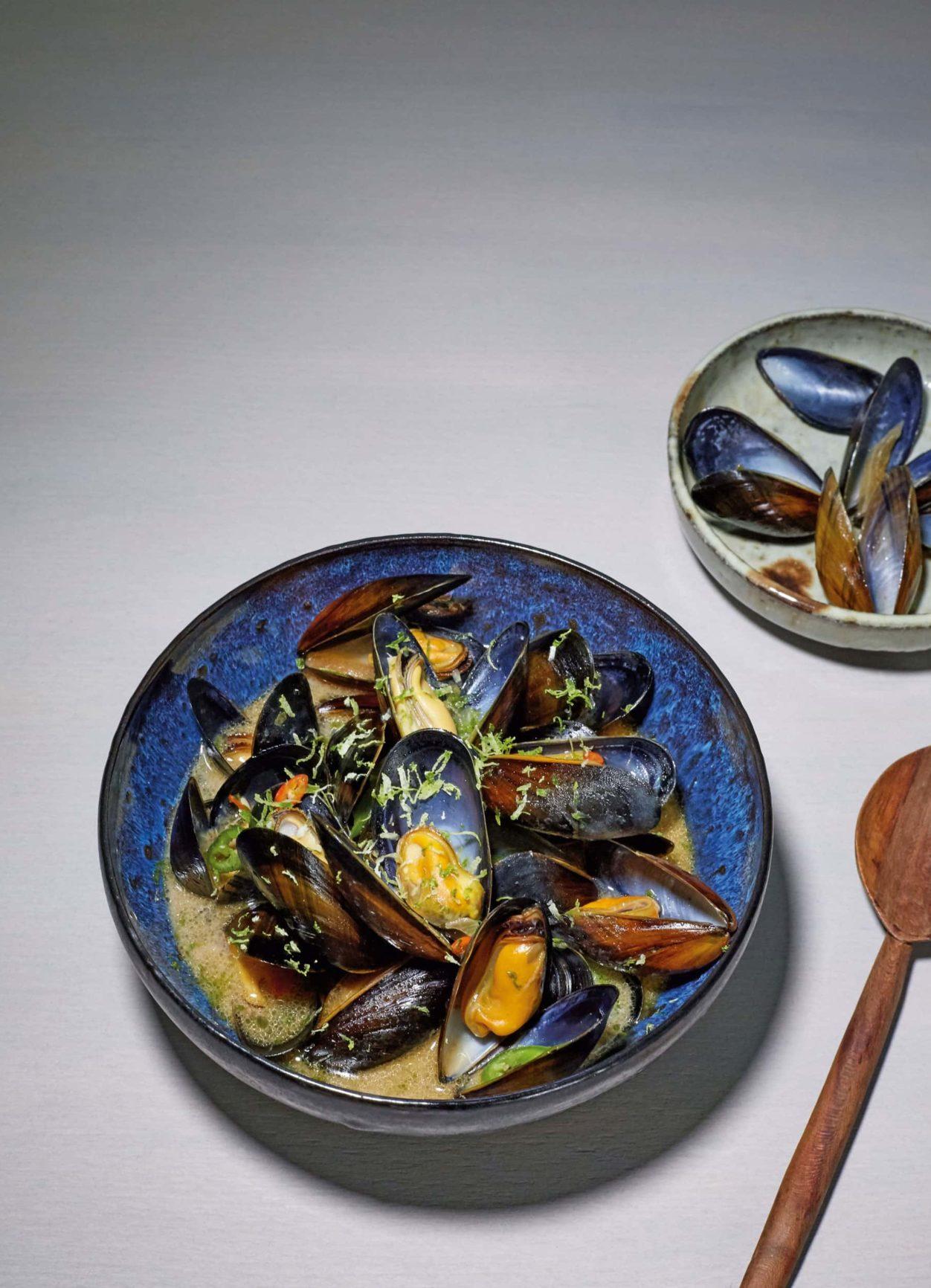 Moules Japonaises - Miesmuscheln mit Limette und Zitronengras